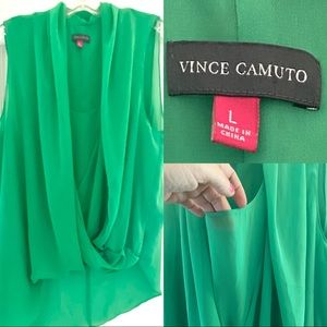 Vince Camuto Green Sheer Top L